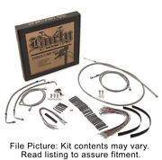 Burly Brand Stainless Extended Cable Kit Harley 14-15 W/o Abs 15 Handlebars