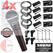 4x Shure Sm58 Cardioid Vocal Mic W/ 20ft Xlr Cable And A Mic Stand.