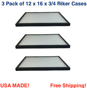 3 Pack Of 12 X 16 X 3/4 Riker Display Cases Boxes For Collectibles Jewelry Andmore