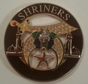 Shriners Jeweled Cut-out Car Emblem In Brown