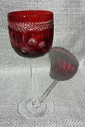 Ruby Red Christmas Pattern Cut To Clear Crystal Faberge Wine Glasses Signed