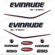 Evinrude 250hp E-tec 100th Anniversary Outboard Decals - 2010 Engine Stickers