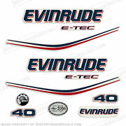 Evinrude 40hp E-tec Outboard Decal Kit - 2004 2005 2006 2007 2008 Stickers