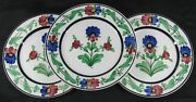 Lot Of 3 Antique 19th C Villeroy And Boch Dresden Small Plate Hand Painted Flowers