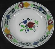 Antique 19th C Villeroy And Boch Wallerfangen Bowl Hand Painted Flowers
