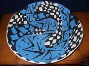 "Large 17"" Dia.Vintage Blue & Black Modern Abstract Fruit Bowl-By Madelyn DZik"