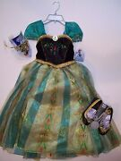 Nwt Disney Store Frozen Anna Deluxe Coronation Costume 7/8 Tiara And Shoes 13/1