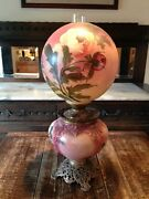 1900 - 1940 Antique Gone With The Wind Kerosene Oil Hand Painted Rose Lamp
