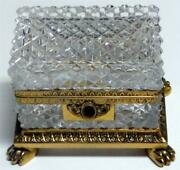 French Cut Rock Crystal Footed Jewelry Casket Box Gilt Bronze 19th C.