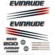 Evinrude 200hp Bombardier Outboard Decal Kit - 2002-2006 Engine Stickers