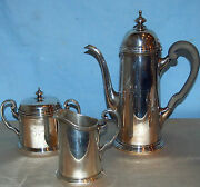 And Co 3 Pc Sterling 925-1000 Tea And Coffee Set C 1930 Fine 48.11 Troy Oz