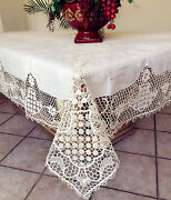 Vintage Needle Lace Handmade Embroidery Linen Tablecloth White/ivory W/napkins