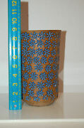 """Handcrafted Tall Ceramic Vase With Blue Glazed Stamped Flowers  8.75"""" Beautiful"""