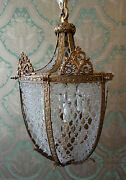 Large Scale 1920s Neo-classical Gilt Brass And Beaded Crystal Lantern