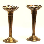 1921 Pair Of Sterling Flower Vases- By R.f. Mosley And Co.- Sheffield- 575 Grams