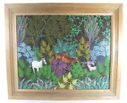 Jacques Geslin Listed Haitian Acrylic On Masonite Tropical Animals In Jungle