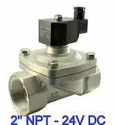 2 Inch Stainless Electric Solenoid Water Valve Zero Differential 24v Dc Viton