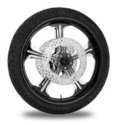 Performance Machine 21 Front Black Wrath Wheel Tire Rotor Package Harley 08-13