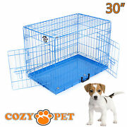 Dog Cage Puppy Crate Travel Pen Blue Show Training Cozy Pet 30 Inch Dog Crate
