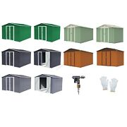 Birchtree New Garden Shed Metal Apex Roof Outdoor Storage With Free Foundation