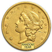 1866-1876 20 Liberty Gold Double Eagle Type 2 Cleaned - Sku 61870
