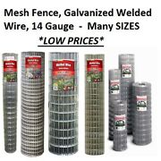 Galvanized Welded Wire Mesh Cage Fence, 14 Gauge - Many Sizes And Mesh Options