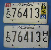 1999 Maryland Handicapped License Plates Matched Pair