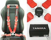 1 Tanaka Universal Red 4 Point Camlock Quick Release Racing Seat Belt Harness