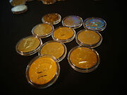 Lot Of 10 24 Kt Gold Plated Jf Kennedy Half Dollar Coin Set -air Tight Capsule
