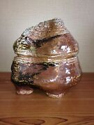 Odd Unusual Handmade Biomorph Signed B. Roberts Clay Art Pottery Lidded Canister
