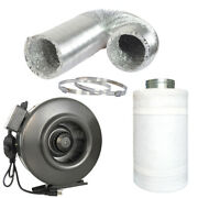 4 6 8 10 12 Inch Inline Fan W/ Speed Controller Carbon Filter Ducting Combo