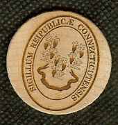 Vintage Wooden Nickel Great Seal Of The State Of Connecticut