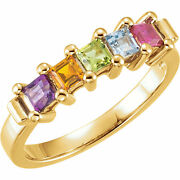 10k Or 14k Solid Gold Motherand039s Day Ring 1 To 5 Square Birthstones Family Rings