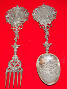 Dutch 2 Pc Large 833 Silver 19 C And C 1625 Salad Set Spoon And Fork Signed