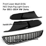 For 11-14 Vw Jetta Mk6 Ncc Style Front Lower Bumper Honeycomb Side Grille Chrome