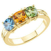 14k Solid Gold Antique Square Checkerboard Birthstones Motherand039s Ring 1 To 4