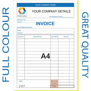 Personalised A4 Invoice Book / Duplicate / Ncr / Receipt/ Order 50 Sets / Pad
