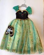 Nwt Disney Store Frozen Anna Deluxe Coronation Costume 9/10 And Nwot Shoes 2/3