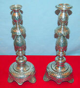 Russian Pair 84 Silver Candlesticks C1882 By He 25.97 Toz-elegand Han-chased