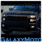 14-15 Chevy Silverado 1500 Black Direct Oe Replacement Rivet+mesh Grille+shell