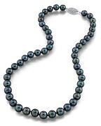 14k Gold 8.0-8.5mm Japanese Akoya Black Cultured Pearl Necklace - Aa+ Quality