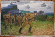 Russian Ukrainian Soviet Oil Painting Army Soldier Realism Infantry Helicopter