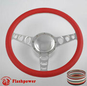 14and039and039 Billet Steering Wheels Red Half Wrap Muscle Car Gm Gto Firebird Bonneville