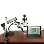 2.1x-180x 14mp Digital Articulating Stand Zoom Stereo Microscope W 6w Led Light
