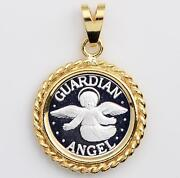 .999 Pure Silver Guardian Angel Coin 14mm In Solid 14kt Gold Ropel Pendant