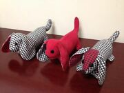 Rare Vintage Dachshund Plaid Wiener Dogs Puppies Stuffed Plush One Of The Kind