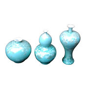 Beautiful Set Of 3 Contemporary Teal Crystal Shell Porcelain Vases