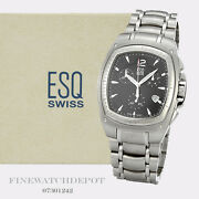 Authentic Menand039s Esq Swiss Stainless Steel Bracer Watch 07301242