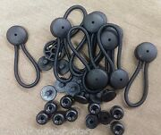 10 Black Bungee Shock Cord Clip Loop Stayput Boat Truck Tarp Canvas Knobs W/or/b