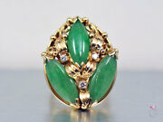 Mingand039s Hawaii Large 3 Stone Green Jade And Diamond Ring. Floral Size 6 Mings 14k